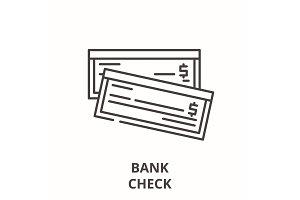 Bank check line icon concept. Bank