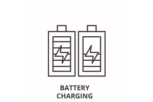Battery charging line icon concept