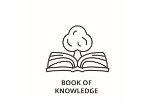 Book of knowledge line icon concept