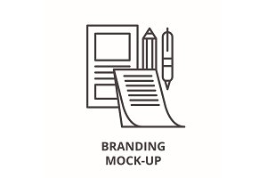Branding mock-up line icon concept