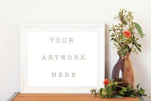 8x10 White Frame Vase Mockup H