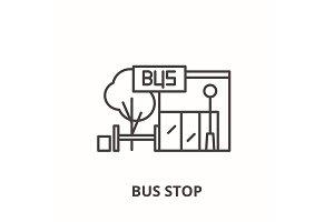 Bus stop line icon concept. Bus stop