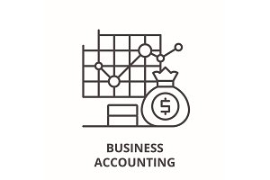 Business accounting line icon