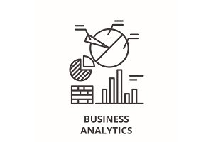 Business analytics line icon concept