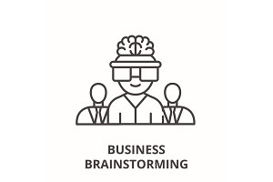 Business brainstorming line icon