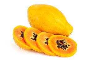 ripe slice papaya isolated on a