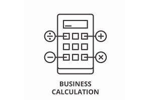 Business calculation line icon