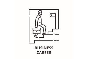Business career line icon concept