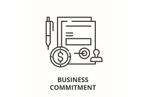 Business commitment line icon