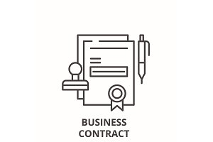 Business contract line icon concept