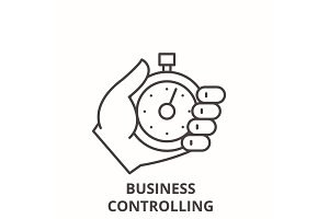 Business controlling line icon