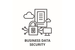 Business data security line icon