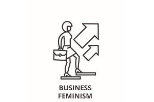 Business feminism line icon concept