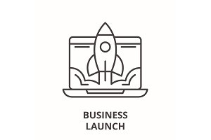 Business launch line icon concept