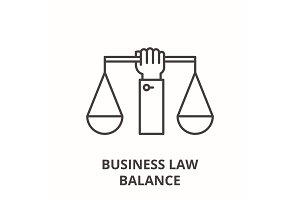 Business law balance line icon