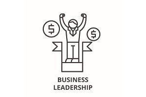 Business leadership line icon