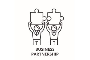 Business partnership line icon