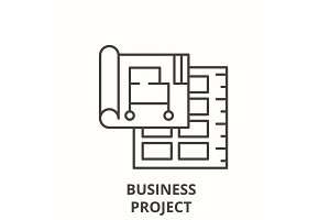 Business project line icon concept
