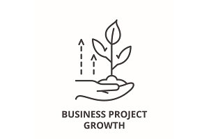 Business project growth line icon