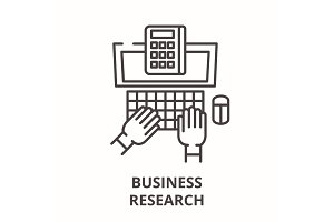Business research line icon concept