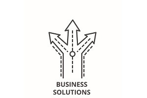 Business solutions line icon concept