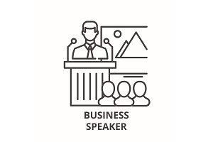 Business speaker line icon concept