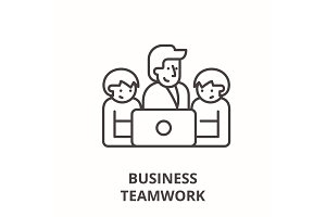 Business teamwork line icon concept