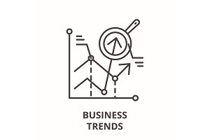 Business trends line icon concept