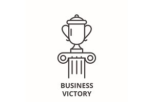 Business victory line icon concept