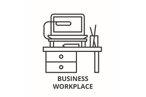 Business workplace line icon concept