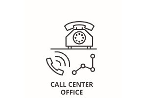 Call center office line icon concept