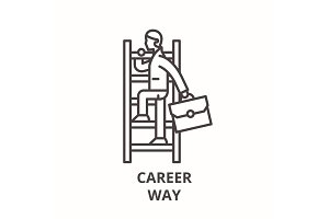 Career way line icon concept. Career