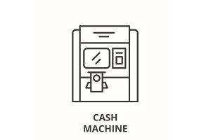 Cash machine line icon concept. Cash