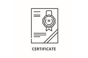 Cerificate line icon concept