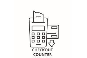 Checkout counter line icon concept