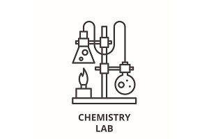 Chemistry lab line icon concept
