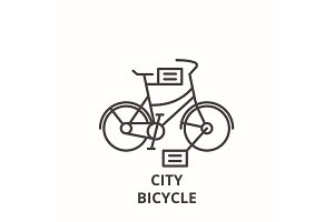 City bicycle line icon concept. City
