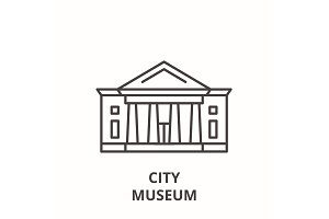 City museum line icon concept. City