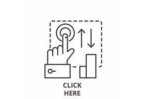 Click here line icon concept. Click