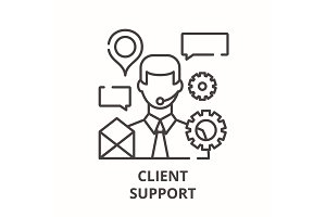 Client support line icon concept