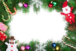 Christmas frame decorated isolated