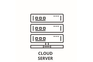 Cloud server line icon concept
