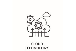Cloud technology line icon concept