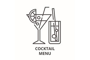 Cocktail menu line icon concept