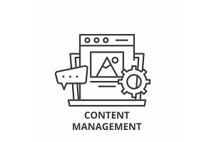 Content management line icon concept