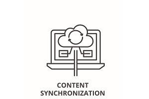 Content synchronization line icon