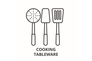 Cooking tableware line icon concept