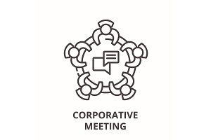 Corporative meeting line icon