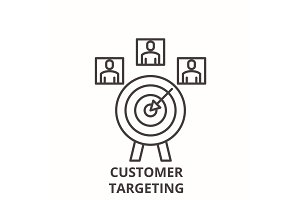 Customer targeting line icon concept