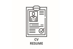 Cv resume line icon concept. Cv
